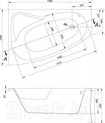 Ванна акриловая Cersanit Sicilia 150x100 L (с ножками) - схема