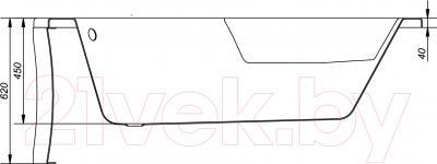 Ванна акриловая Cersanit Sicilia 150x100 R (с ножками) - схема