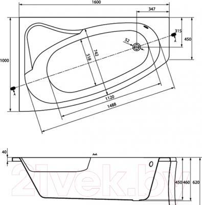 Ванна акриловая Cersanit Sicilia 160x100 L / S301-036