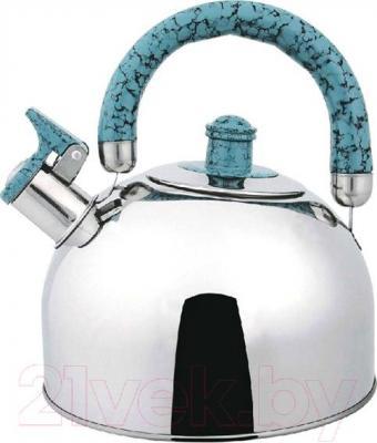 Чайник со свистком Bekker BK-S307M (нержавеющая сталь/голубой) - цвет ручки и свистка: голубой/цвет уточняйте при заказе