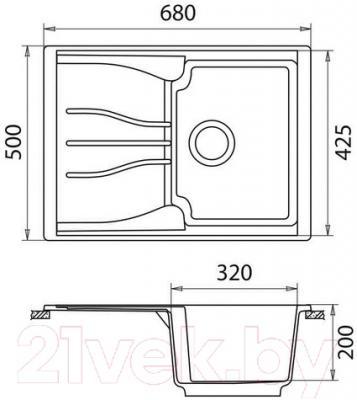 Мойка кухонная GranFest Standart GF-S680L (светло-розовый)
