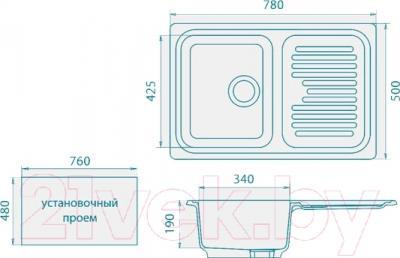 Мойка кухонная GranFest GF-S780L (терракот)