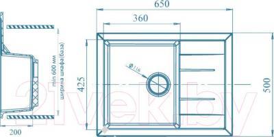 Мойка кухонная GranFest GF-Q650L (зеленый)