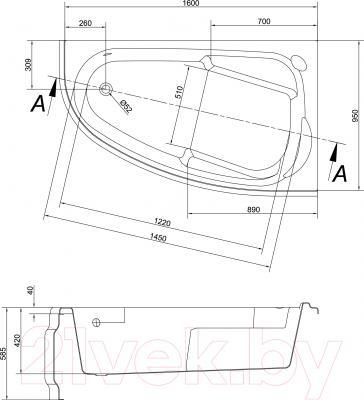 Ванна акриловая Cersanit Joanna 160x95 R / S301-169