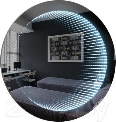 Зеркало интерьерное Dubiel Vitrum Wenecja Kolo 62x62 (5905241002903) - подсветка создает иллюзию глубины