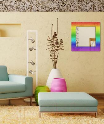 Зеркало интерьерное Dubiel Vitrum Tesza 65x65 (5905241001623) - полупрозрачная разноцветная рама
