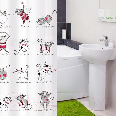 Текстильная шторка для ванной Tatkraft Funny Cats 14022 - в интерьере