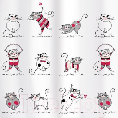 Текстильная шторка для ванной Tatkraft Funny Cats 14022 - антибактериальное покрытие