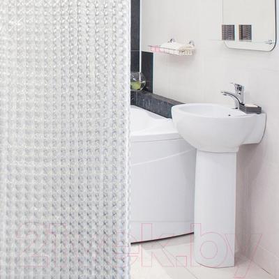 Текстильная шторка для ванной Tatkraft Crystal 3D 18815 - в интерьере