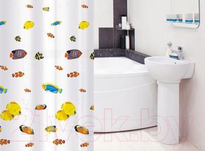 Текстильная шторка для ванной Tatkraft Blue Lagoon 14039 - в интерьере