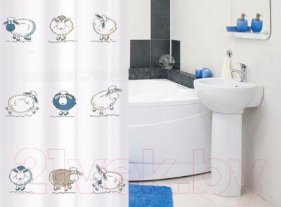 Текстильная шторка для ванной Tatkraft Funny Sheeps 14855 - в интерьере
