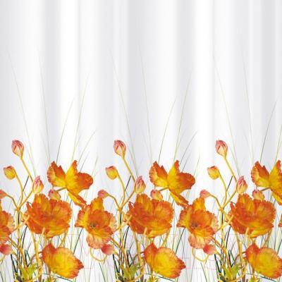 Текстильная шторка для ванной Tatkraft French Poppies 14046