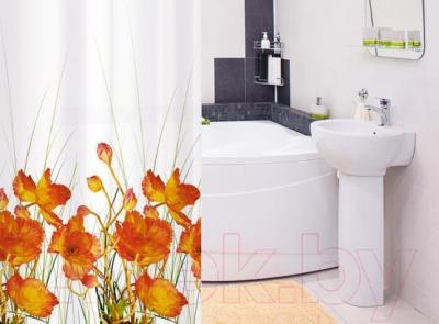 Текстильная шторка для ванной Tatkraft French Poppies 14046 - в интерьере