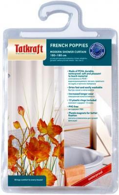 Текстильная шторка для ванной Tatkraft French Poppies 14046 - упаковка