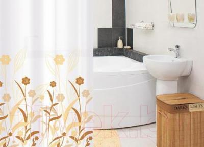 Текстильная шторка для ванной Tatkraft Vogue Biege 14596 - в интерьере