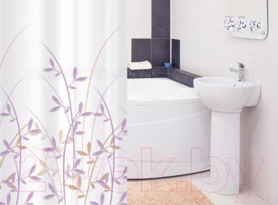 Текстильная шторка для ванной Tatkraft Immanuel Olive 14602 - в интерьере