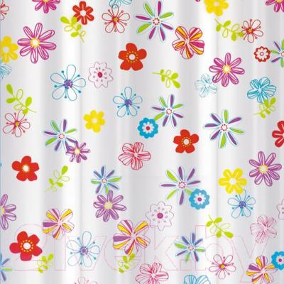 Текстильная шторка для ванной Tatkraft Flowers 14497