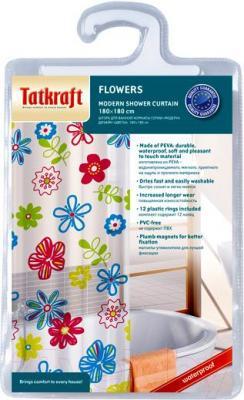 Текстильная шторка для ванной Tatkraft Flowers 14497 - упаковка