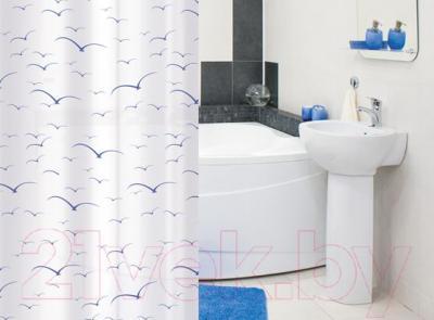 Текстильная шторка для ванной Tatkraft Seagull 14053 - в интерьере