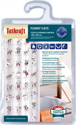 Текстильная шторка для ванной Tatkraft Fanny Cats 14664 - упаковка
