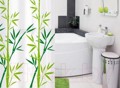 Текстильная шторка для ванной Tatkraft Bamboo Green 18013 - в интерьере