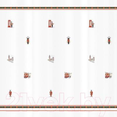 Текстильная шторка для ванной Tatkraft London City 14701