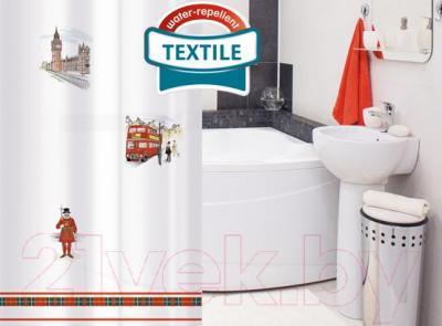 Текстильная шторка для ванной Tatkraft London City 14701 - в интерьере