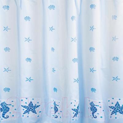 Текстильная шторка для ванной Tatkraft Marine Motifs 14435