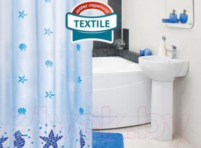 Текстильная шторка для ванной Tatkraft Marine Motifs 14435 - в интерьере