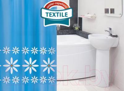 Текстильная шторка для ванной Tatkraft Chamomile 14428 - в интерьере