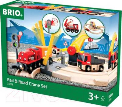 Железная дорога детская Brio Rail & Road Crane Set 33208