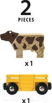 Элемент железной дороги Brio Вагон с коровой 33406