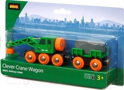 Элемент железной дороги Brio Вагон-подъемный кран 33698