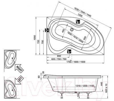 Ванна акриловая Ravak Rosa II 160x105 R (CL21000000) - технический чертеж