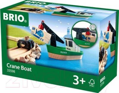 Элемент железной дороги Brio Корабль с краном 33598