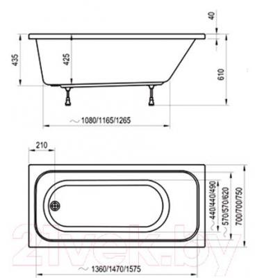 Ванна акриловая Ravak Chrome 160x70 (C731000000) - технический чертеж