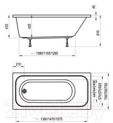 Ванна акриловая Ravak Chrome 170x75 (C741000000) - технический чертеж