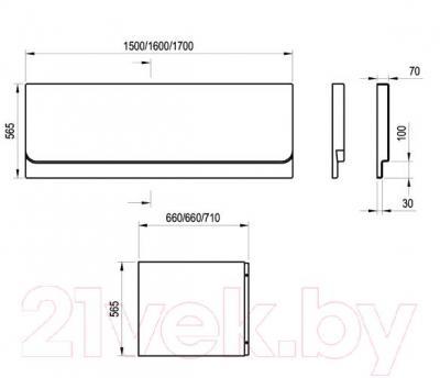 Экран для ванны Ravak Chrome 170 (CZ74100A00) - размеры