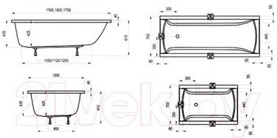 Ванна акриловая Ravak Classic 160x70 (C531000000) - технический чертеж