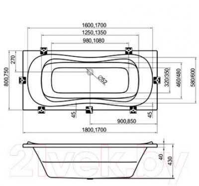 Ванна акриловая Ravak Campanula II 180x80 (CB21000000) - технический чертеж