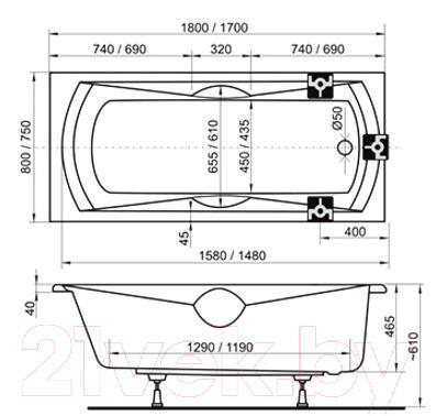 Ванна акриловая Ravak Sonata 180x80 (CW01000000) - технический чертеж