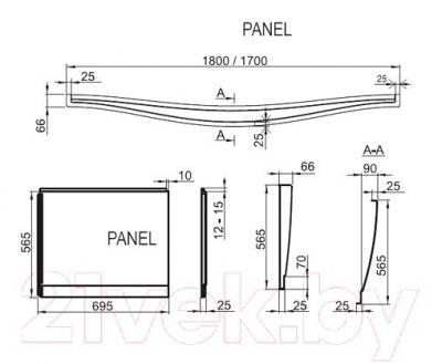Экран для ванны Ravak Magnolia 170 (CZ51000A00) - размеры
