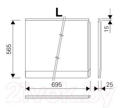 Экран для ванны Ravak Magnolia 75 L (CZ61200A00) - размеры