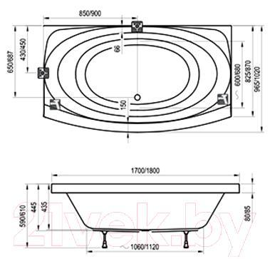 Ванна акриловая Ravak Evolution 180x102 (C101000000) - технический чертеж