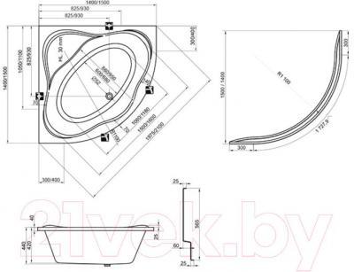 Ванна акриловая Ravak New Day 140x140 (C651000000) - технический чертеж