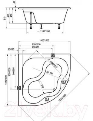 Ванна акриловая Ravak Gentiana 150x150 (CG01000000) - технический чертеж