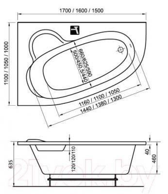 Ванна акриловая Ravak Asymmetric 170x110 L (C481000000) - технический чертеж