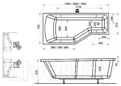 Ванна акриловая Ravak Be Happy 150x75 R (C151000000) - технический чертеж