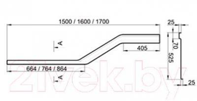 Экран для ванны Ravak Be Happy 150 L (CZ12100A00) - размеры