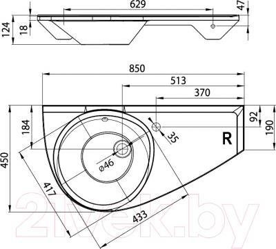 Умывальник Ravak Avocado 85x45 (XJ1L1100000) - схема